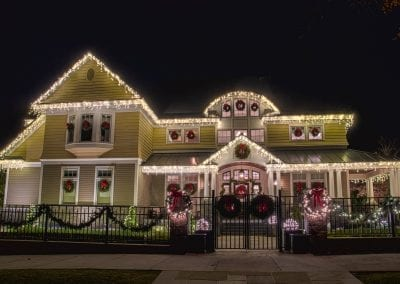 Amazing home with icicle lights wreaths and garland for the holidays