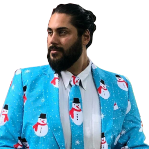 Mike Carlson wearing an ugly christmas suit